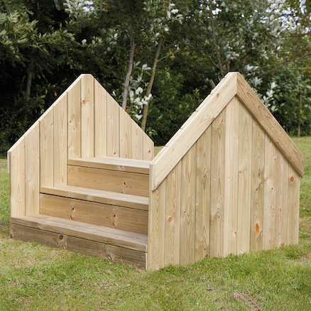 Outdoor Wooden Up and Over Step Bridge  large