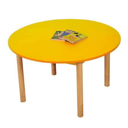Height Adjustable Round Wooden Classroom Tables  large