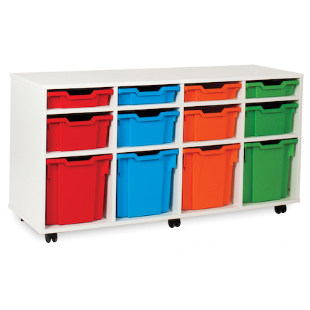 White Tray Storage Unit With 12 Variety Trays  large