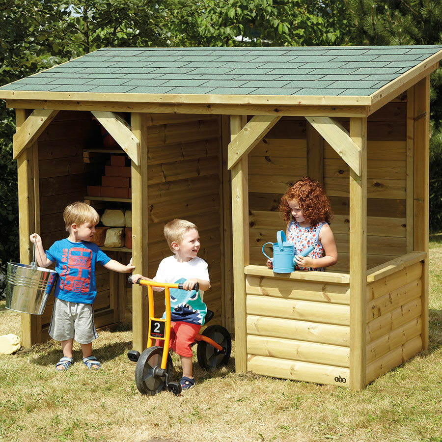 buy outdoor wooden role play house and storage centre tts. Black Bedroom Furniture Sets. Home Design Ideas