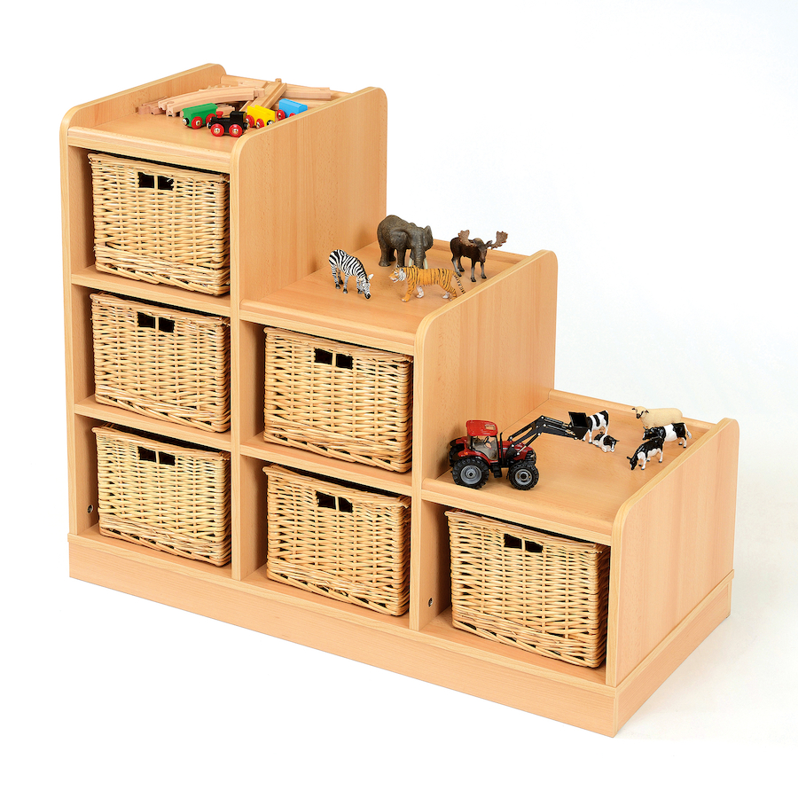 buy tiered storage units with wicker baskets tts. Black Bedroom Furniture Sets. Home Design Ideas