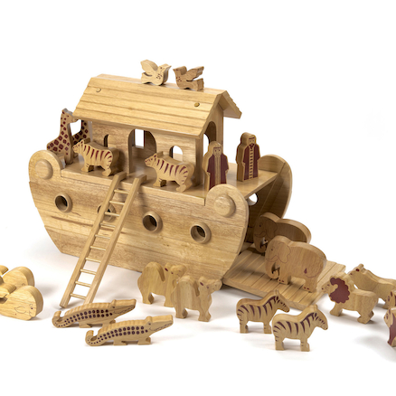 Small World Natural Wooden Noahs Ark  large