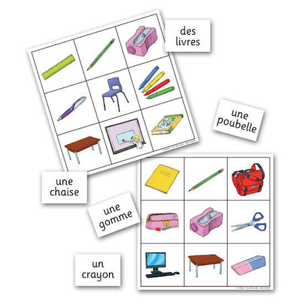 Classroom Objects French Vocabulary Bingo Game  large
