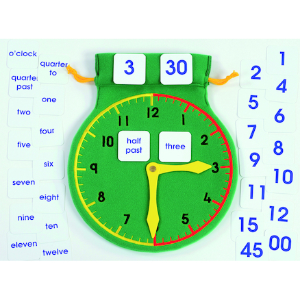 Time Teaching Clock with Detachable Numbers Bag  large