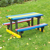 Small Recycled Plastic Rainbow Picnic Bench  small