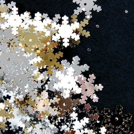 Silver, Gold and White Snowflake Sequins 70g  large