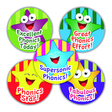 Phonics Star Stickers 250pk  medium