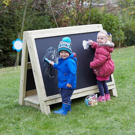 Toddlers Outdoor Chalkboard Wooden Floor Easel  large