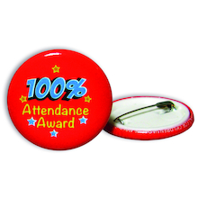 100% Attendance Badges 20pk  medium