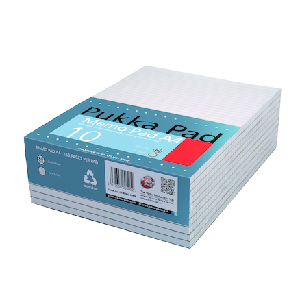 Pukka A4 Lined Memo Pad 10pk  large