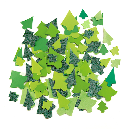 Festive Tree Paper Collage Shapes Assorted 300pk  large