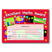 Excellent Maths Certificates 40pk  medium