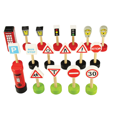 Small World Wooden UK Traffic Signs 14pcs  large