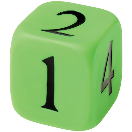 Large Rubber Numbered Dice 10 x 10cm  large