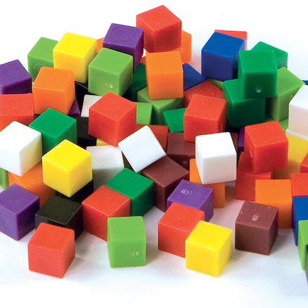 Coloured Plastic Maths Cubes Pack 2  large