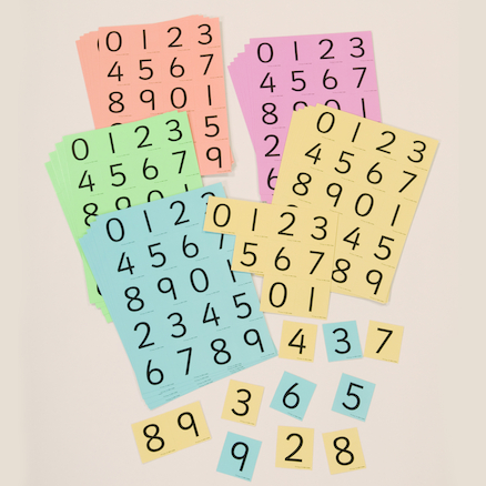 Coloured Digit Cards Class Pack  large