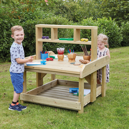 Outdoor Wooden Work Bench and Storage  large