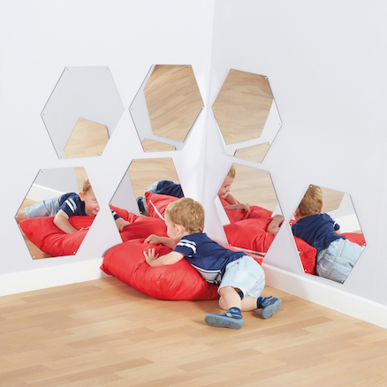 Hexagonal Mirrors Diameter 50cm 7pk  large