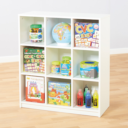 Basic White Nine Compartment Bookcase  large