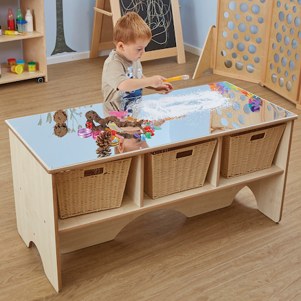 Toddler Mirror Activity Table With Shelves  large