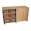 Sliding Doors Storage with 12 Deep Wicker Baskets  small