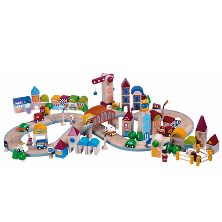 Small World Wooden City Blocks with Road  large