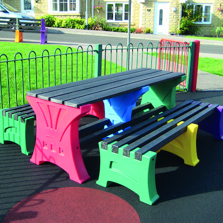 Recycled Plastic Coloured Table and Benches Set  large