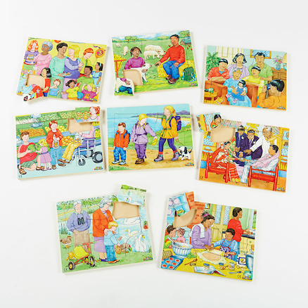 Illustrated Kinds of Family Jigsaw Puzzles 8pk  large