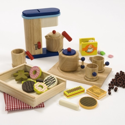Role Play Wooden Tea Coffee and Biscuit Set 24pcs  large