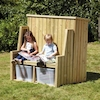 Outdoor Wooden Seating and Storage Bench  small