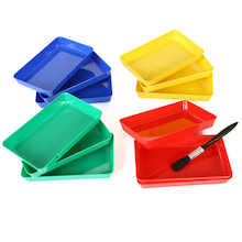 Small Rectangular Colourful Messy Trays 12pk  medium