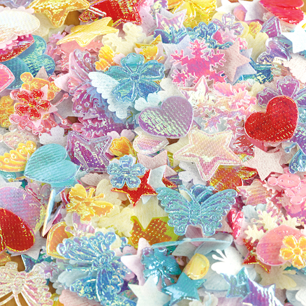 Assorted Iridescent Fabric Collage Shapes 2500pk  large