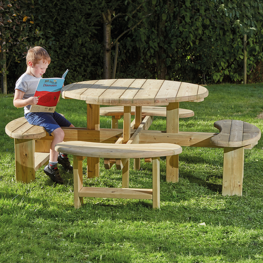 Buy Outdoor Round Wooden Picnic Bench Tts