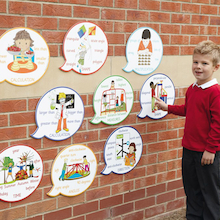 Maths Outdoor Vocabulary Wall Signs 9pcs  medium