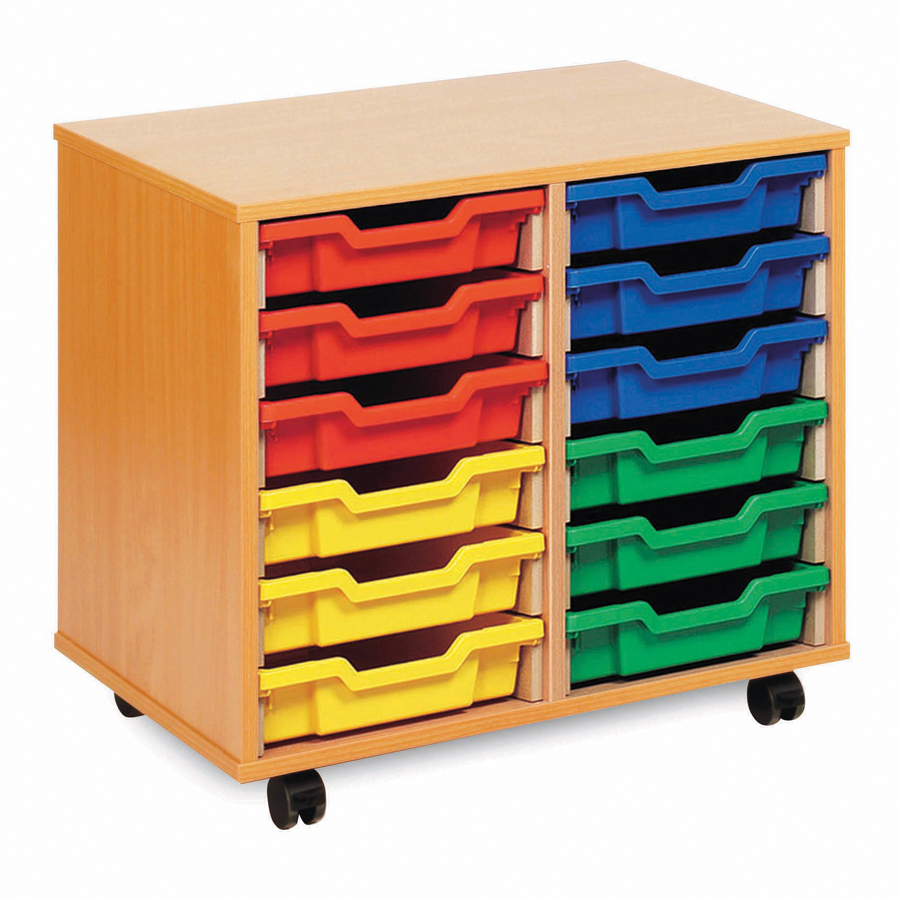 Buy mobile tray storage unit with 12 shallow trays tts for Shallow shelving unit