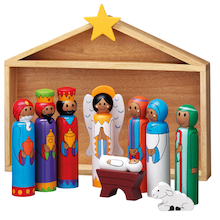 Wooden Stable Nativity with Nine Figures  medium