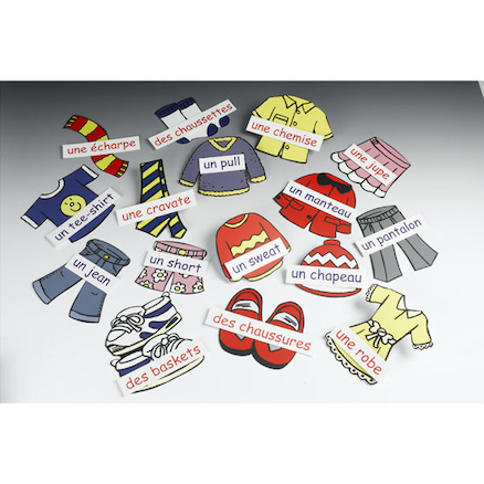 Clothes French Vocabulary Display Cards  large