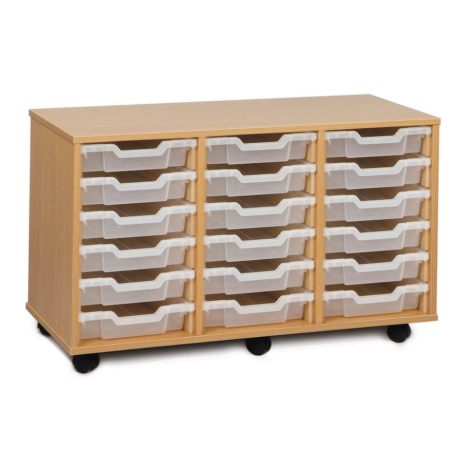 buy mobile tray storage unit with 18 shallow trays tts. Black Bedroom Furniture Sets. Home Design Ideas