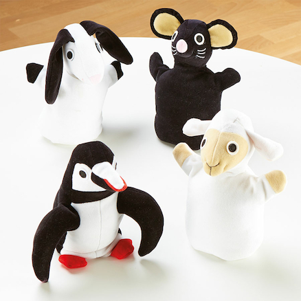Black And White Soft Animal Puppets 4pk  large
