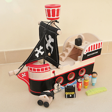 Toddler Wooden Small World Pirate Ship  medium
