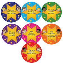 Gold Star Rules Playground Signs 7pk  medium