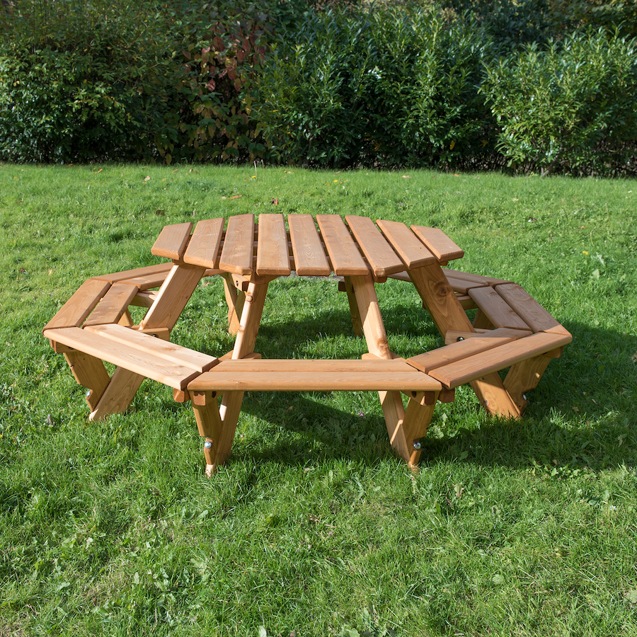 Buy Outdoor Eight Seater Octagonal Picnic Bench Tts