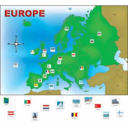 Europe Magnetic Map with 45 Illustrated Pieces A3  large