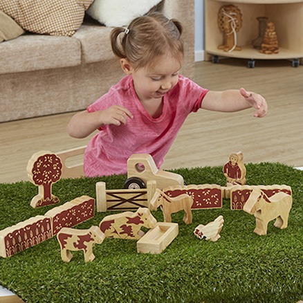Natural Wooden Small World Farmers Field Set  large