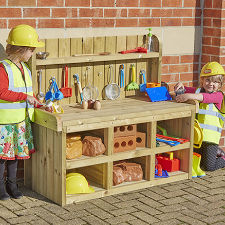 Outdoor Wooden Builders Role Play Bench  large