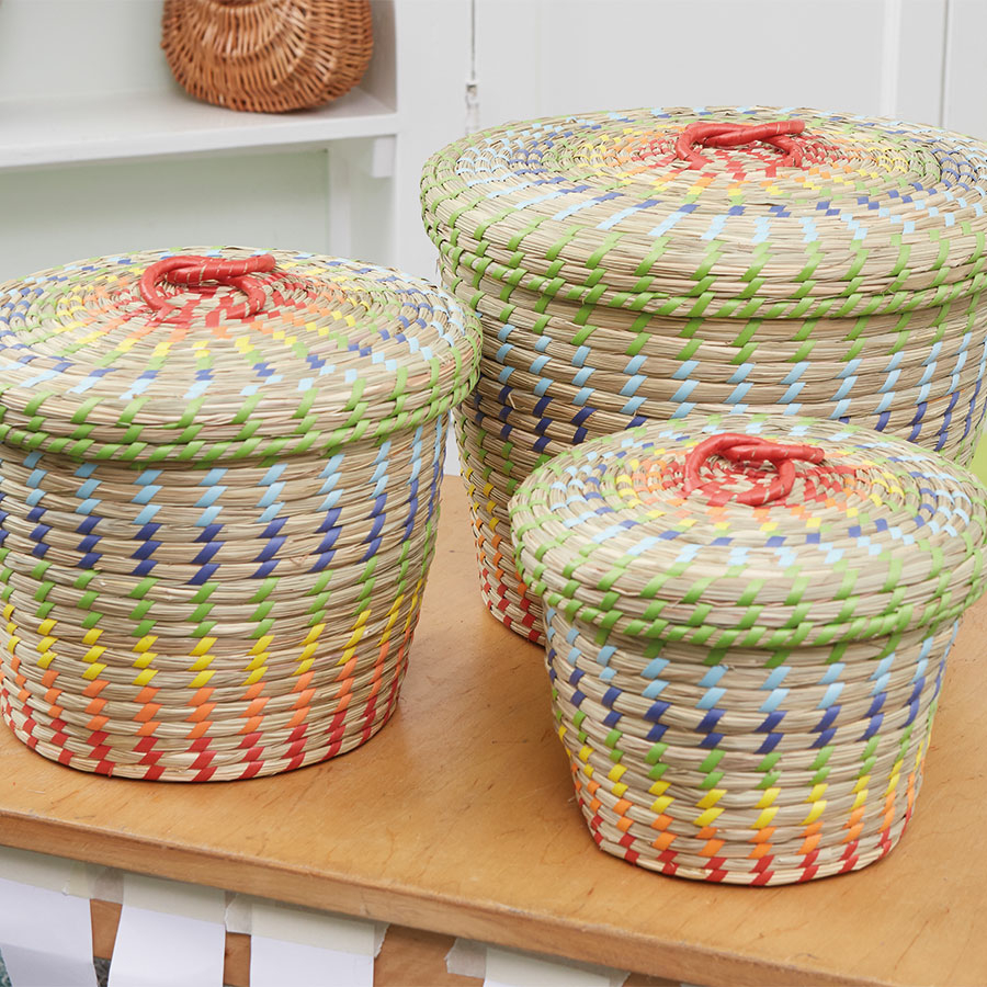 Seagrass Storage Baskets: Buy Colourful Nesting Seagrass Storage Baskets 3pk