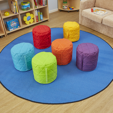 Quilted Pouffe Bean Bags 6pk  large