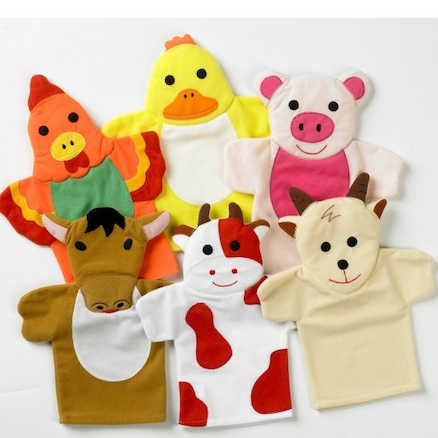 Role Play Farm Animal Hand Puppets Set 4pcs  large