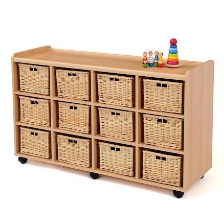 buy storage unit with 12 deep wicker baskets tts. Black Bedroom Furniture Sets. Home Design Ideas