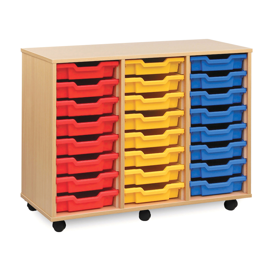 Buy mobile tray storage unit with 24 shallow trays tts for Shallow shelving unit